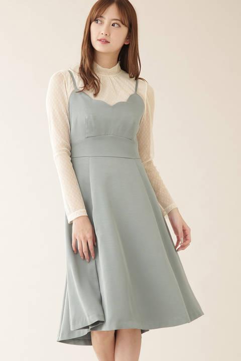 スカラップキャミドレス