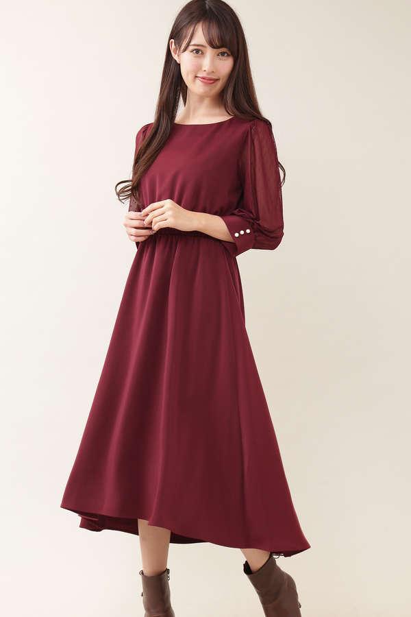 ドットスリーブロングドレス