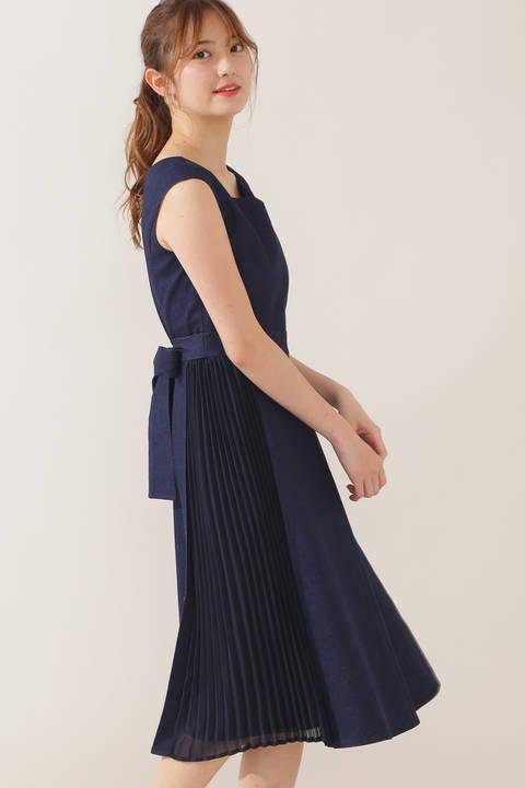 デニムプリーツドレス