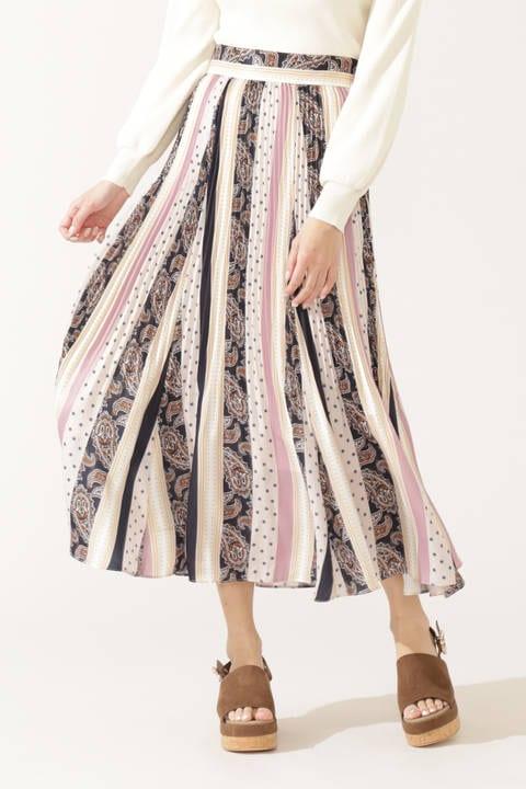 ハイブリッドペイズリーフローラルスカート