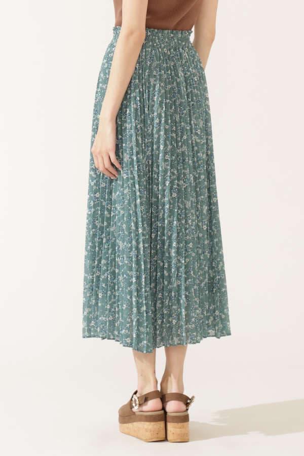 フラワーペイズリープリーツスカート