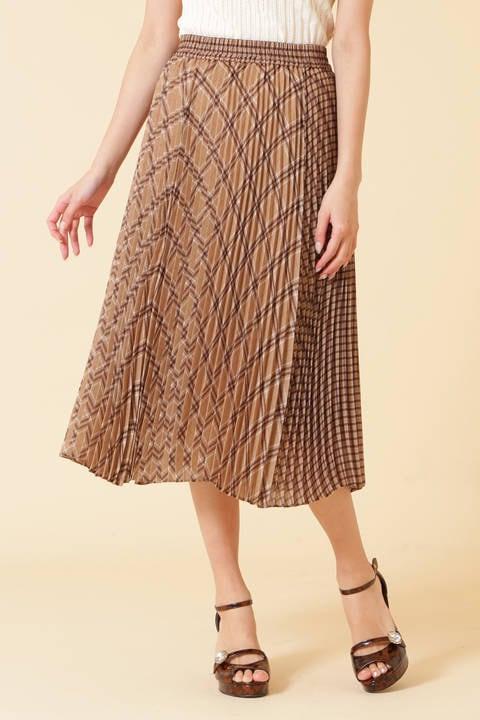 シアチェックプリーツスカート