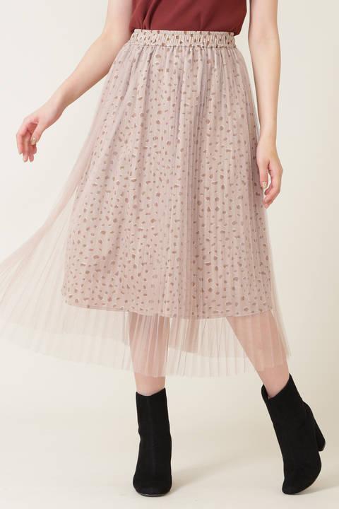 プリーツチュールフローラルスカート