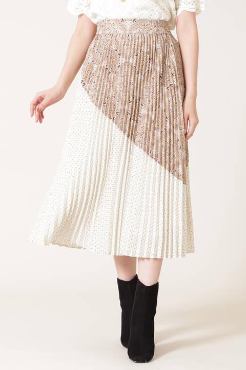 ブロッキングプリーツスカート