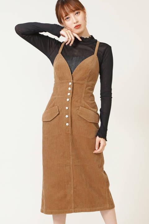 【先行予約9月上旬-9月中旬入荷予定】ミックスリブコーディジャンパースカート