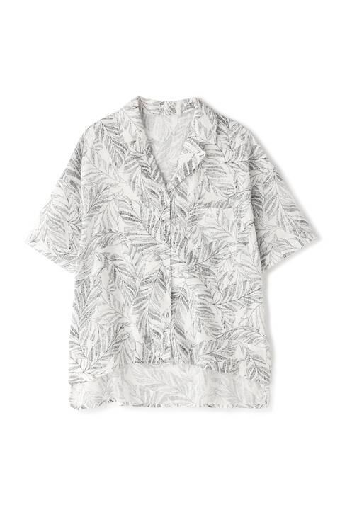 リーフ柄ボイル開襟シャツ