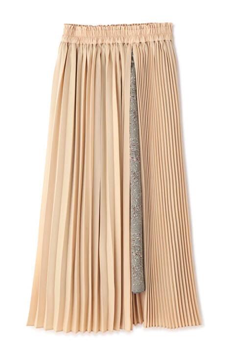 ペイント柄レイヤードプリーツスカート