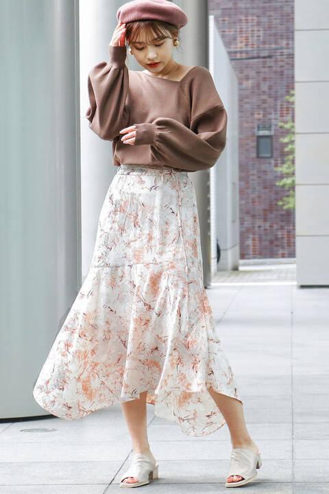 【先行予約2月中旬-下旬入荷予定】ナローリボンイレヘムロングスカート