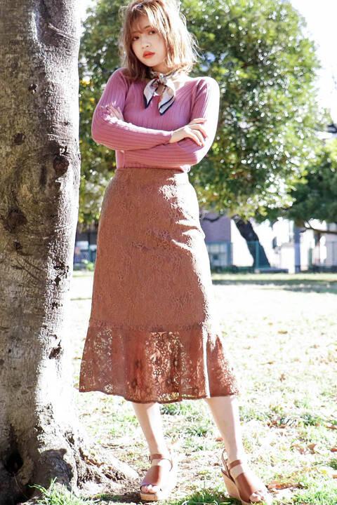 【追加生産予約6月上旬-6月中旬入荷予定 050ブラウンSサイズのみ】ハイウエストレースマーメードスカート