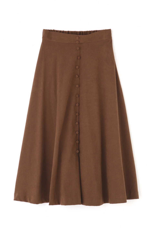【公式/フリーズマート】フロントボタンフレアースカート/女性/スカート/ブラウン/サイズ:FR/(表生地)ポリエステル 97% ポリウレタン 3%(裏生地)ポリエステル 100%