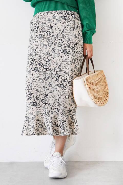 【先行予約3月下旬-4月上旬入荷予定】モードフラワー裾フレアIラインスカート
