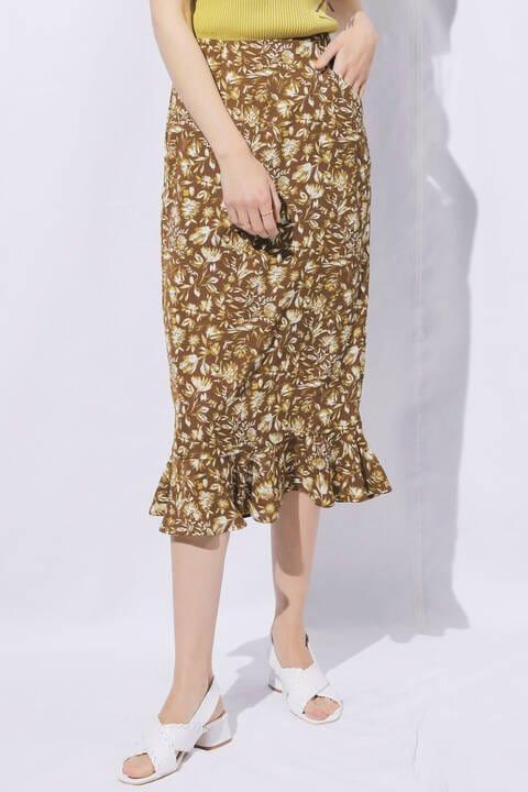 モードフラワー裾フレアIラインスカート