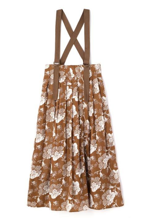 サスペンダー付花柄プリーツスカート