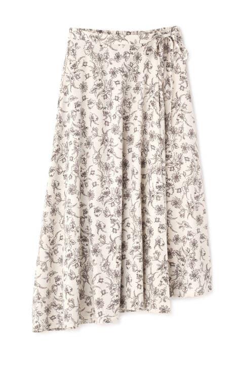 《Sシリーズ対応商品》モノトーンフラワーラップスカート