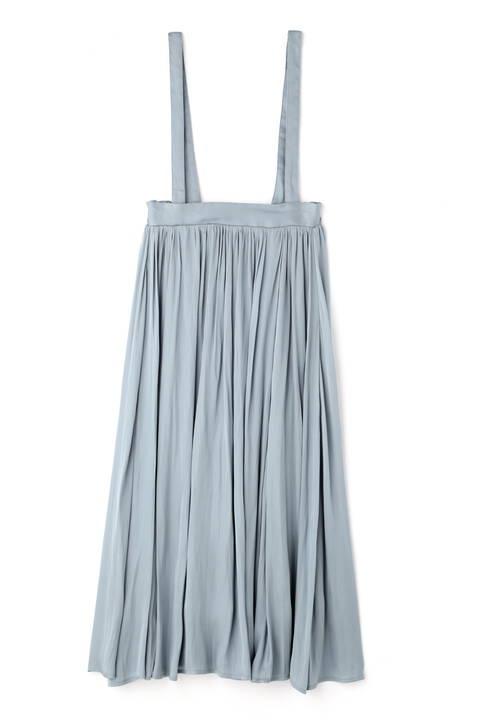 サスペンダー付きワッシャーサテンスカート