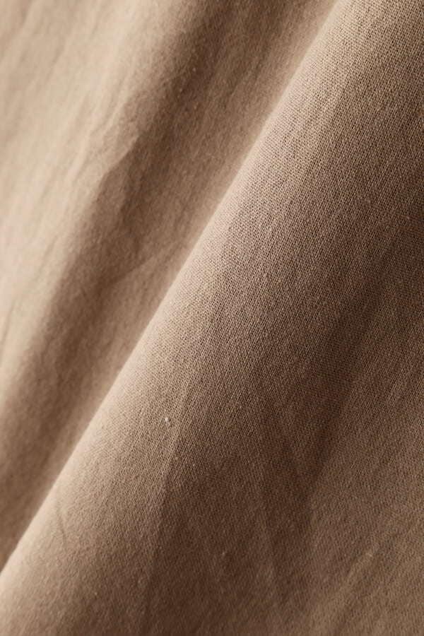 麻調フロント釦ソフトフレアスカート