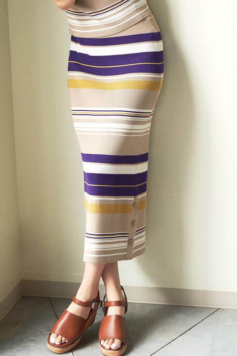 マルチボーダーサイドボタンニットタイトスカート