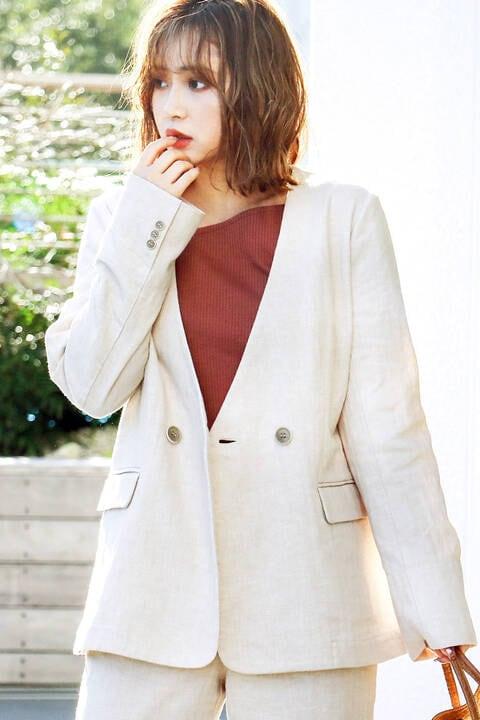 《Sシリーズ対応商品》麻ブレンドノーカラージャケット