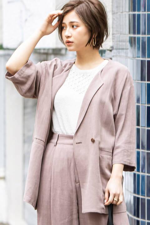 麻レーヨンオーバーサイズジャケット
