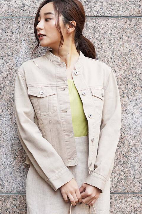 《Sシリーズ対応商品》バンドカラーデニムジャケット