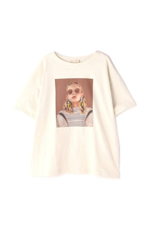 デコレーションモデルプリント半袖Tシャツ