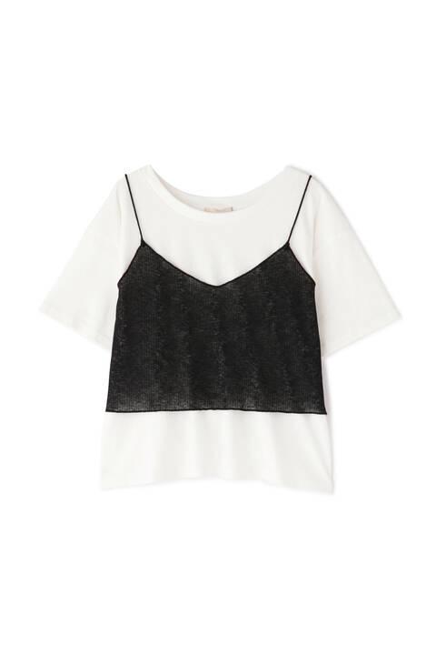 シースルービスチェレイヤードTシャツ