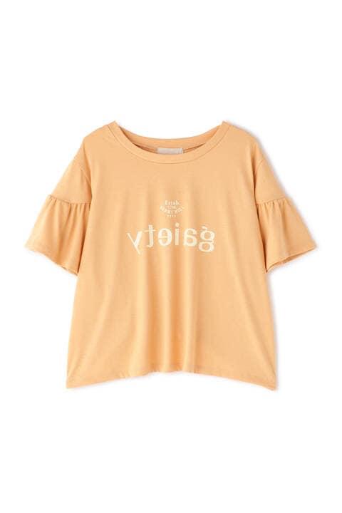 フレアスリーブロゴプリントTシャツ