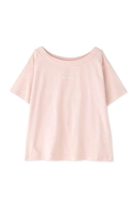 ミニロゴ刺繍ボートネックTシャツ