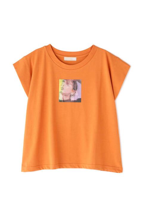 短丈フレンチスリーブアートプリントTシャツ