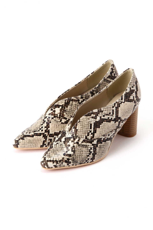 【公式/フリーズマート】Vカットパンプス/女性/靴/ヘビ柄/サイズ:M/(甲皮の使用材)合成皮革(底材の種類)合成底