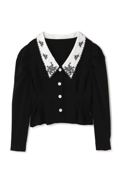 【追加生産予約11月中旬-下旬入荷予定】衿刺繍ウエストタックブラウス