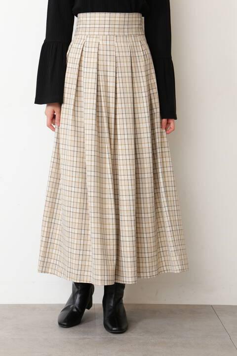 チェック柄タックマキシスカート