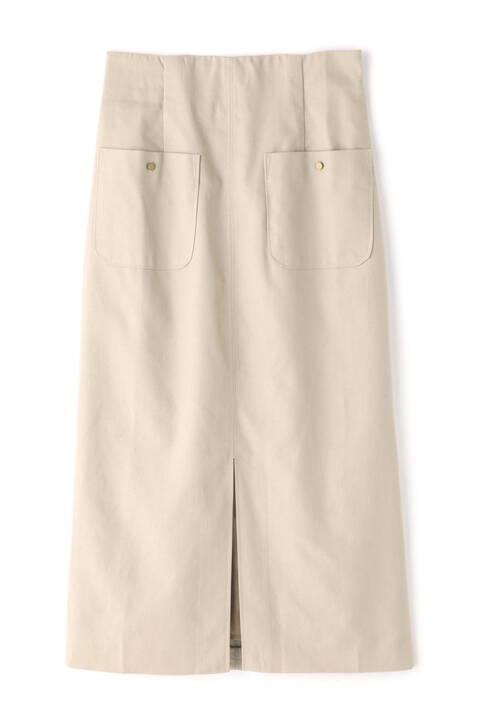 麻調合繊フロントポケットペンシルスカート