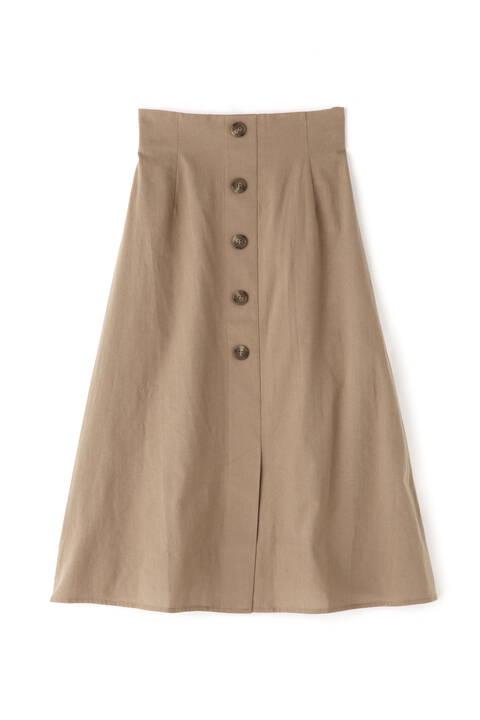 《Sシリーズ対応商品》麻調フロント釦ソフトフレアスカート