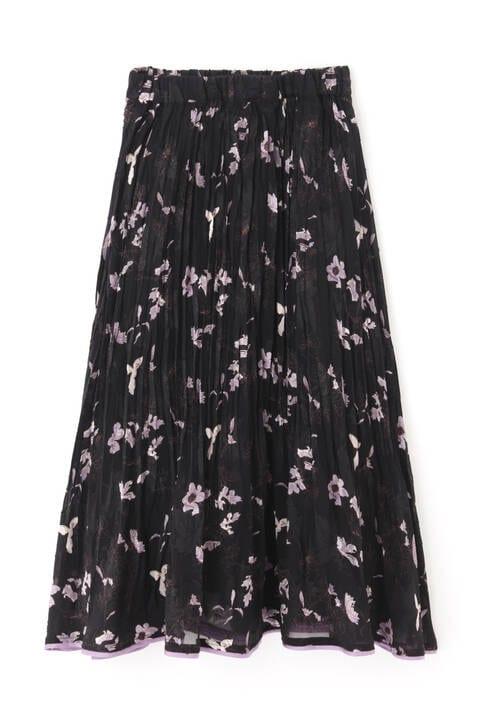ドビーフラワー裾パイピングプリーツスカート