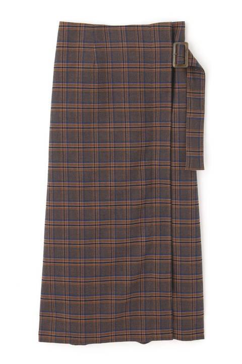 ハイウエストチェックラップスカート
