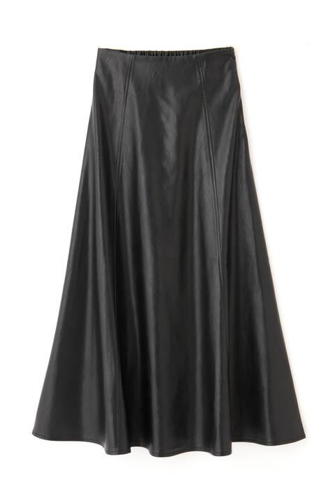 【追加生産予約12月中旬-下旬入荷予定】フェイクレザーフレアスカート