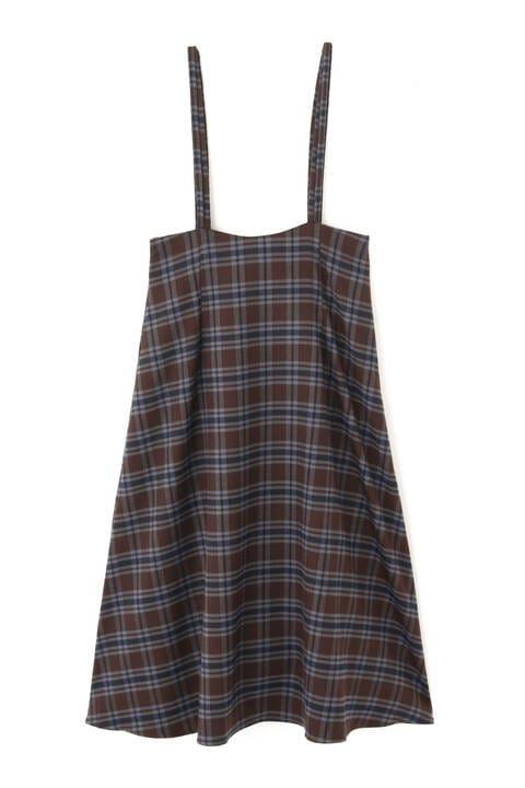 【先行予約10月下旬-11月上旬入荷予定】ナローストラップチェックジャンパースカート