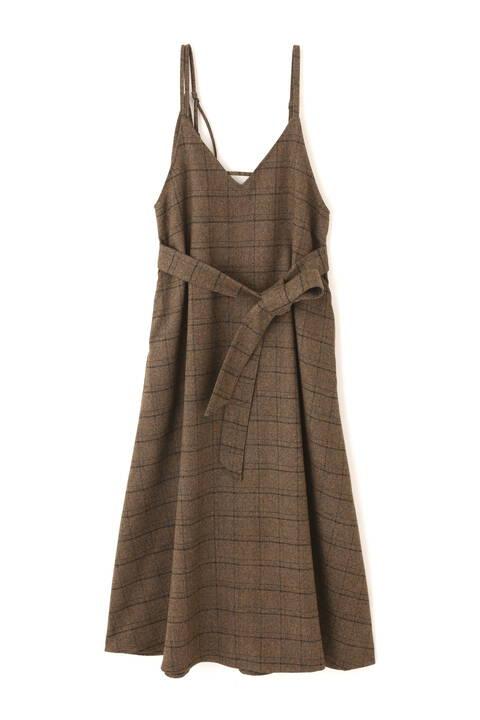 【追加生産予約12月中旬-下旬入荷予定】アシメストラップチェックロングジャンパースカート