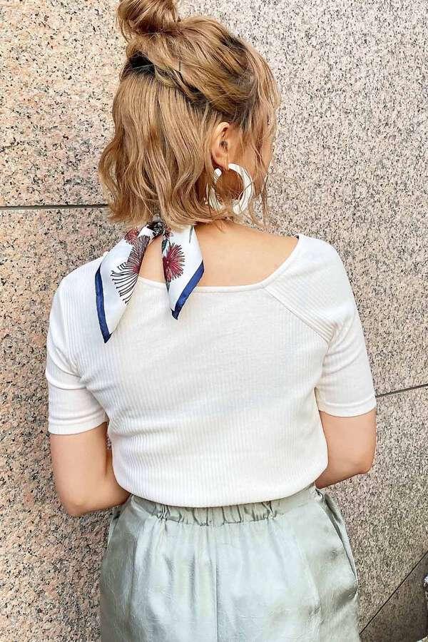 三角テレコアシメネック半袖カットソー