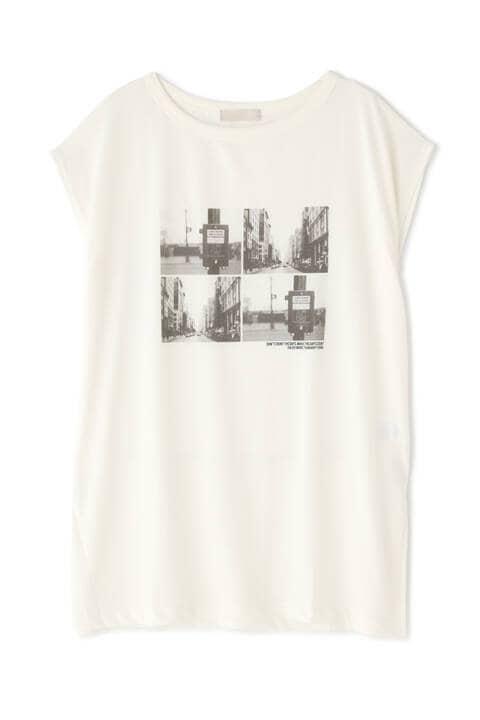 フレンチスリーブフォトプリントチュニックTシャツ