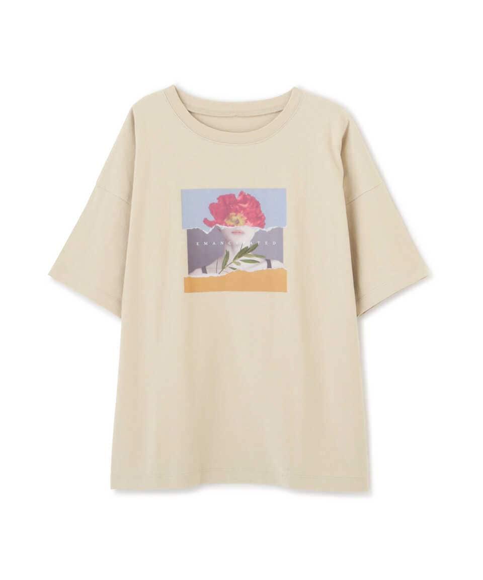 【公式/フリーズマート】アートプリントビッグTシャツ/女性/カットソー/ベージュ/サイズ:FR/コットン 100%