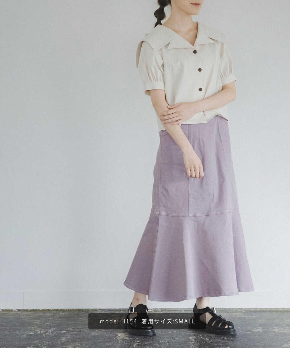 【公式/フリーズマート】《Sシリーズ対応商品》パネル切替マーメイドデニムスカート/女性/スカート/ラベンダー/サイズ:M/コットン 99% ポリウレタン 1%