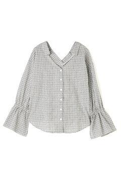 袖しぼりチェックシャツ