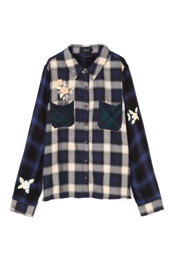 《Miss Me》花柄刺繍チェックシャツ