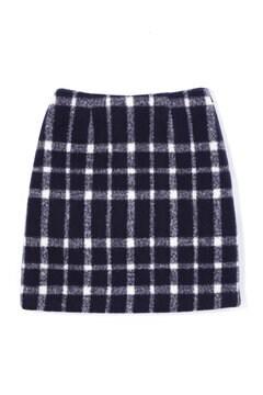 【先行予約_11月中旬お届け予定】シャギーチェック台形ミニスカート