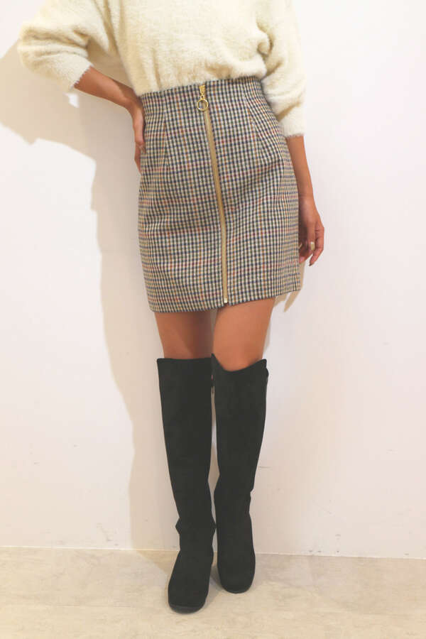 【MOOK本 ベッキーさん着用商品】【MOOK本 堀田茜さん着用商品】フロントジップチェックミニスカート