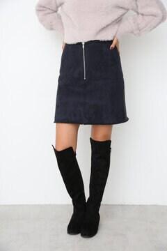 【先行予約_11月中旬お届け予定】フェイクムートン台形スカート