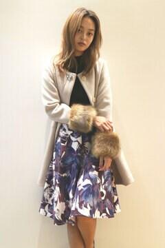 【MOOK本 堀田茜さん着用商品】【Ray掲載】袖ファー付きノーカラーコート