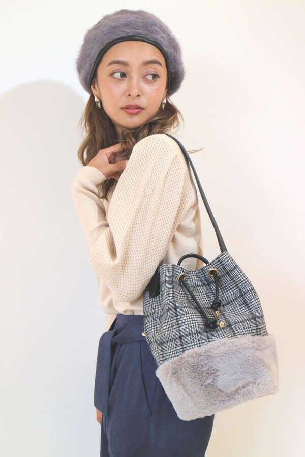 【MOOK本 堀田茜さん着用商品】ファー切り替えチェックバッグ
